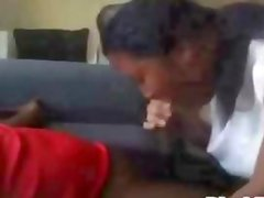 Black babe gives blowjob and gets mouthful