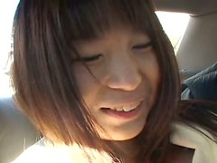 Hefty Japanese girl Mana Iizuka is pleasured on a backseat while riding