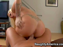 Arousing experienced blonde milf Candy Manson with huge melons and