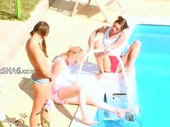 Three girls secret fucking by the pool
