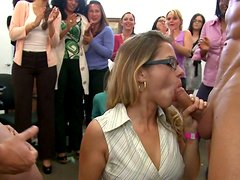Two strippers are frosting office girl's face