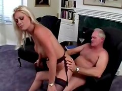 Pierced clit blonde fucked by old guy