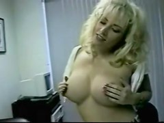 Slutty outfit on a big titty blonde stripping