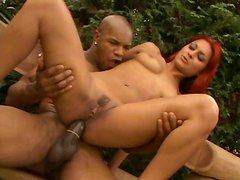 Outdoor sex experience with red haired babe