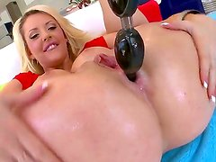 enjoy curious and arousing blonde vixen Courtney Taylor stucking playthings into her holes