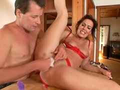 After getting her pussy tickled kinky Nancy Vee provides a dick with a blowjob