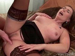 Lingerie on a sexy milf grinding on his cock