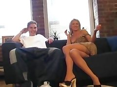 Blonde mother gets her hands on a fit dude