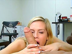 Blonde slut Tera Lynn gives stunning blowjob to horny male with hard dick