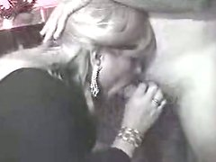 Spoiled blond whore is ready to provide a dude with a handjob and blowjob