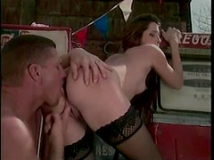 Gas station banging for stockings hottie