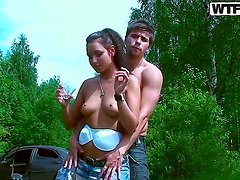 Hot brunette babe Jocelyn gets caught on cam with her boy in a hot session during picknic