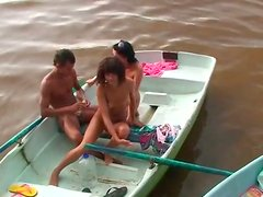 Two horny and hot couples have a tough group sex right near the river
