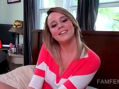 Ex girlfriend teasing shaft with her tits in POV
