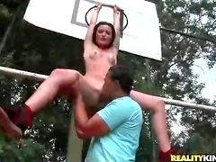 Blown by a slim cutie on the basketball court