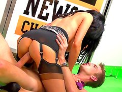 Danny D bangs alluring babe Louise Jensen in her ass
