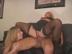 Wife and his slut both work on his cock
