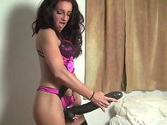 Small Fit Girl Plays With Huge Dildo