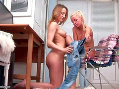 Arousing slender young looking lesbian dolls with natural boobs and