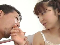 Aroused dude oral caresses beaver of Japanese milf Reiri Fujisaki through panties