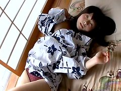 Cuddly Japanese chic in Kimono strips in sultry lingerie