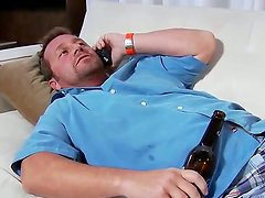 The guy gets home all waster and drunk and falls asleep at the sofa, just when his girlfriend comes
