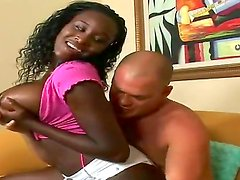 Lucky dude Josh gets his hands on gorgeous black hottie with big boobs Shanti and gets a blowjob