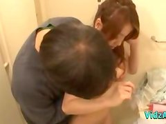 Asian Girl Fingered In The Bathroom Giving Blowjob On The Bed In The Bedroo