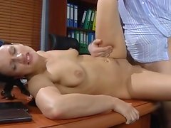 Sassy  secretary seduces her old chief in A vigorous office quickie