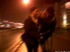Pretty face nasty brunette making out