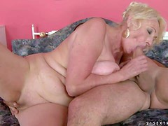 Sila is a blond-haired granny that spends her sexual energy