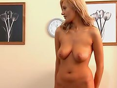 Sizzling blondie gets some pain in the office