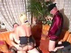 Mature threesome sex with a horny blond granny